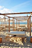 pic of suny  - blue sky and sand suny beach with suspended beds - JPG