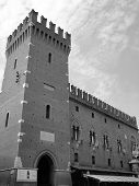 stock photo of ferrara  - Old tower of a medieval castle situated in Ferrara Italy - JPG