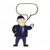 picture of bowler  - cartoon sensible business man in bowler hat with speech bubble - JPG