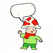 pic of magical-mushroom  - cartoon mushroom man with speech bubble - JPG