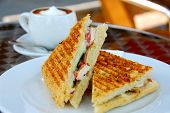 foto of italian food  - Sandwich and coffee lunch - JPG