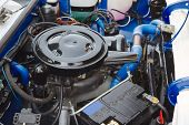 picture of internal combustion  - Restored engine of an old car - JPG