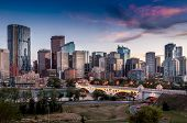 stock photo of skyscrapers  - Skyscrapers sparkle as the sun sets in Calgary Alberta - JPG