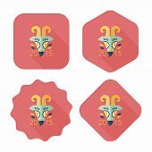 image of chinese zodiac  - Chinese New Year Flat Icon With Long Shadow - JPG