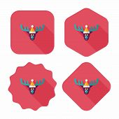 pic of rudolph  - Reindeer Flat Icon With Long Shadow - JPG