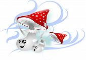 pic of toadstools  - Two red toadstools in wind keeping and flying hats - JPG