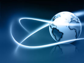 foto of world-globe  - abstract background with blue world and fluorescent lines - JPG