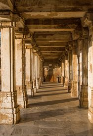 image of saracen  - Colonnaded cloister of historic Tomb of Mehmud Begada Sultan of Gujarat at Sarkhej Roza mosque - JPG