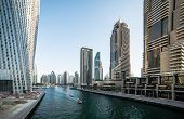 picture of marina  - Panoramic view with modern skyscrapers and water channel of Dubai Marina - JPG