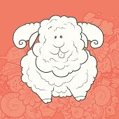 picture of kawaii  - Vector Illustration Cute Hand Drawn very strong ram with curved horns - JPG