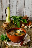 pic of nettle  - Nettle soup with eggs and carrot in the bowl on the wooden table - JPG