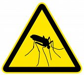 stock photo of gnats  - Yellow warning sign with black silhouette of mosquito - JPG