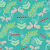 foto of dragonflies  - Seamless pattern cute cartoon dragonfly and plants - JPG