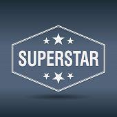 picture of superstars  - superstar hexagonal white vintage retro style label - JPG