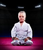 picture of aikido  - Little girl aikido fighter at sports hall - JPG