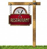 picture of food chain  - Restaurant sign with white plate and silver cutlery - JPG
