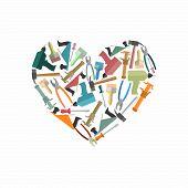 stock photo of tool  - Symbol heart of Construction tools - JPG