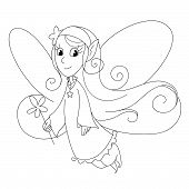 foto of magic-wand  - Fairy lady flying with a magic wand - JPG
