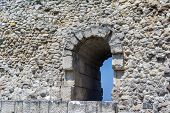 stock photo of fortified wall  - the Ruins of old ancient fortress wall - JPG