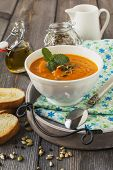 picture of ginger bread  - Soup of carrots with ginger on old table background - JPG