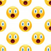 stock photo of emoticons  - Vector surprised emoticon repeated on white background - JPG