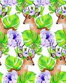 picture of deer horn  - seamless hipster pattern with deer portrait in flowers with wreath in his horns - JPG