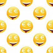 stock photo of emoticons  - Vector obsessed by money emoticon repeated on white background - JPG