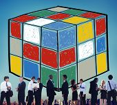 foto of cube  - Puzzle Cube Game Cube Shape Intelligence Concept - JPG