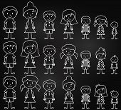 picture of uncle  - Set of Cute and Diverse Chalkboard Stick People in Vector Format - JPG