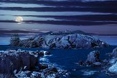 picture of roof-light  - fairytale composite of rocky shore and island with hills and castle with red roofs at night in full moon light - JPG