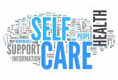 image of personal care  - Word Cloud with Self Care related tags - JPG