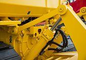 image of bulldozer  - Detail of hydraulic bulldozer piston excavator arm - JPG