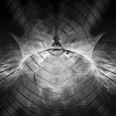 picture of computer-generated  - Digital abstract fractal background generated at computer in black and white - JPG