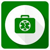 stock photo of accident emergency  - rescue kit flat icon emergency sign  - JPG