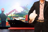 stock photo of export  - working man in ship port use for vessel  - JPG