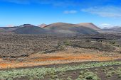 pic of volcanic  - wild volcanic landscape at Lanzarote Island Canary Islands Spain - JPG