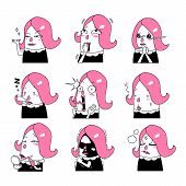 image of emoticons  - Cartoon hair pink girl Emoticon  - JPG