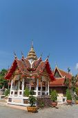 stock photo of worship  - Place of worship with sky background at wat changlek - JPG