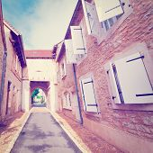 picture of french culture  - Deserted Street of the French City Vintage Style Toned Picture - JPG
