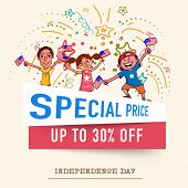 image of special day  - Special price Sale and discount on occasion of American Independence Day celebration with happy kids on stylish background - JPG