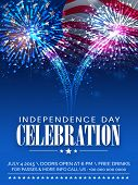 stock photo of traditional  - American Independence Day celebration beautiful invitation card with shiny fireworks on waving national flag background - JPG