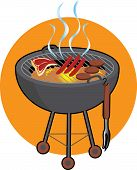 picture of barbecue grill  - barbeque gril with steaks and hotdogs grilling - JPG