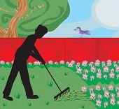 pic of plunder  - man silhouette gardening in his garden  - JPG