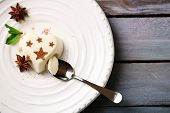 pic of dessert plate  - Tasty panna cotta dessert on plate - JPG