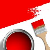 Постер, плакат: Paint Brush And A Bucket Of Red Paint