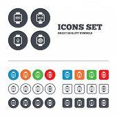 stock photo of watch  - Smart watch icons - JPG