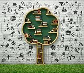 image of academia  - Book shelf in form of tree and drawing concept with grass - JPG
