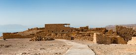 stock photo of masada  - Ruins of Masada ancient fortification in the Southern District of Israel