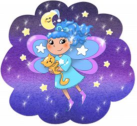 image of tinkerbell  - Fairy lady flying in a starry night - JPG