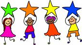 image of cute kids  - a group of happy and diverse little children holding up their stars of achievement  - JPG